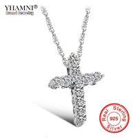Yhamni Luxury Original 925 Sterling Silver Cross Colgante Collar Princesa Lujo Diamante Colgante Colgante para Damas y Mujeres N10