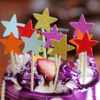 Toppers do bolo de cartões de papel estrela glitter para Cupcake Wrapper Baking Cup chá de aniversário festa de casamento decoração do chuveiro de bebê