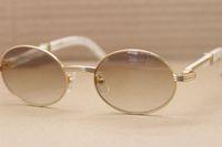 Famosa Marca Óculos De Sol Branco Búfalo Chifre Óculos Óculos De Sol Retro Rodada Óculos De Sol Maior Moda Óculos De Sol Tamanho 55mm com Caso Original