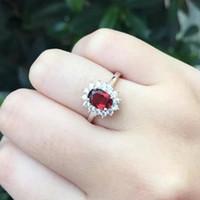 Britannico Diana Kate Princess Fidanzato Anello di fidanzamento di alta qualità con granato Anello di fidanzamento per donna Anello gennaio Birthstone