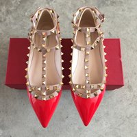 71983b9b0d0 Genuine leather Strap Studded Flat heel Shoes Pointed Toe Ankle Wrap Rivets  Sandals patent Leather flats Shoes Ladies Valentine s shoes