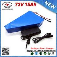 Треугольная форма 72 Вольт 1000W Электрический велосипед Батарея 72V 15Ah Литий-ионная батарея с аккумулятором Сумка используется 15A BMS Samsung элемент