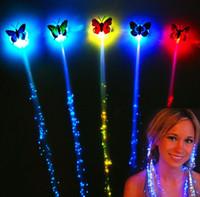 蝶フラッシュヘアLED編組女性カラフルな発光ヘアクリップ繊維ヘアピンライトアップパーティーハロウィーンナイトクリスマス装飾ボタンバッテリー