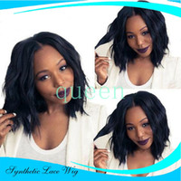 Loose Synthetic Lace Front Free shipping jet black body wave...