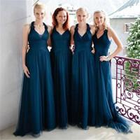 짙은 청록색 긴 얇은 명주 그물 나라 들러리 드레스 고품질 맞춤 제작 명예 드레스 V 넥 제국 웨딩 게스트 드레스 포멀 메이드