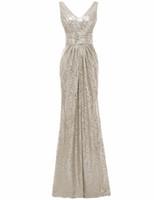 Solovedress Sans manches Champagne sirène pailletée V Robe de demoiselle d'honneur cou 2020 Nouvelles réel formelle vestido de dama de honra B0060