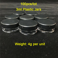 Cheap 100Pieces Lot 3ML 3G Black Lids Plastic Containers Smo...
