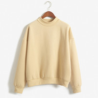 Wholesale- WEIXINBUY 2017 Moletom Feminino Pullover Autumn Women Hoodies Casual Sweatshirt Candy Outwear Tops Long Sleeve bts