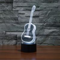 Gitar 3D ışık Odası Yatak Odası Dekoratif Gece Lambası Çok 7 Renk Değişimi USB Kablosu Akıllı Dokunmatik Düğme LED Masa Masa Işık Ev Dekorasyon