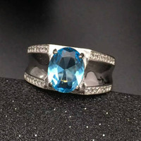 Fashion blue topaz ring for man solid 925 sterling silver ma...