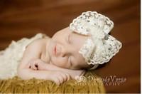 Горячие продажи детские головные уборы кружева жемчуг большой лук дешевые головные уборы для девочек для малыша бесплатная доставка