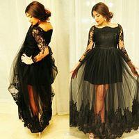 2016 사용자 정의 만든 긴 소매 이브닝 가운 섹시 한 레이스 Applique Bateau 목 우아한 블랙 라인 제국 환상 출산 연예인 드레스