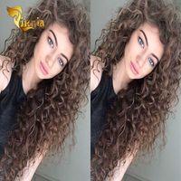 Коричневая глубокая волна полные кружевные парики индийский перуанский малазийский бразильский шелковый базой человеческих волос кружевных фронтов