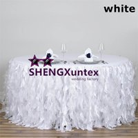 Wedding 100% Polyester Oilproof White Color Round Taffeta Table Skirt \  Wedding Table Skirting