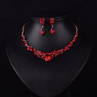 New Korean style Red Color Fashion Rhinestone Crystal bride ...