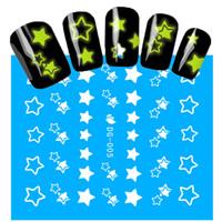 Accessori di moda all'ingrosso 1Sheets NUOVO luminoso del chiodo degli autoadesivi del modello di stella di scintillio di arte del chiodo delle decalcomanie del manicure della decorazione di punte fai da te DG005
