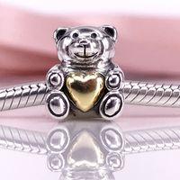 Authentique 925 Sterling Silver Bear mon coeur charme Fit DIY Pandora Bracelet Et Collier 791166