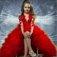 Mangas largas rojas Aplique Tiers Baby Girl Cumpleaños Fiesta de cumpleaños Niños Chicas Pago Pago Vestidos Vestidos de niña de flores para adolescentes