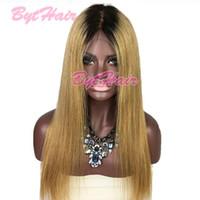 Bythair бразильский Ombre человеческих волос парики шнурка прямой человеческих волос парики фронта шнурка дешевой цене два тона цвета человеческих волос парики