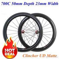 الفاصلة UD ماتي الكربون عجلات 700C 50MM 23MM العمق عرض كامل الكربون دراجة دراجة العجلات Novatec محور ديس Powerway محاور مقبول