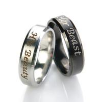 1 pc sua beleza e sua fera titanium aço anéis amantes casal anel acessórios