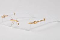 2020 Mode Büffelhorn Sonnenbrille Sport Haltung Holz Sonnenbrillen für Männer Frauen Unisex randlos rechteckige klare Linse mit Box Lünetten
