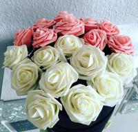 10 Farben 8cm künstliche Rose Blumen Hochzeit Braut Bouquet PE-Schaum-DIY steuern Dekor-Rosen-Blumen-G1129