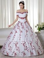 붉은 색과 흰색 다채로운 웨딩 드레스 2020 숄더 자수 끄기 공주 비 흰색 신부 가운 컬러
