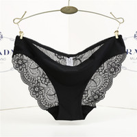 Pure cotton stalls ice silk seamless breathable underwear female lace lady low waist briefs 14 color 5 size