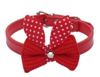 Knit Bowknot de cuero ajustable para perros cachorro Pet Collares collar, collares para perros, Collar de perro, tamaño XS S M G1000