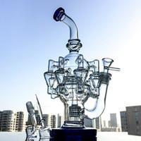 Top Glass Bongs Wasserpfeifen 14.5mm Joint Matrix Perc Recycler Octopus Arme mit Quarz-Banger Hookahs Pipes OA012