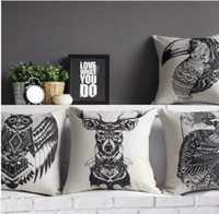 Unique black white style cushion cover animal pattern pilow ...