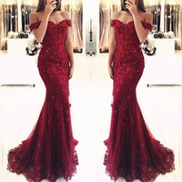 Burgundy Lace Mermaid Appliques Off- the- shoulder Evening Dre...