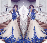 2021 NOUVEAU Dubai Mermaid Robes De Pal Robe Royal Blue Dentelle Appliques Sheer Sexy Voir à court Housses à manches longues Vestios de Fistea Robes de soirée