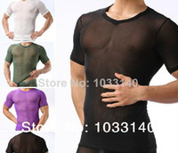 Mens Sexy Lace Sheer gauze short- sleeve slim see through Sum...