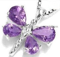 jewelry amethyst dragonfly pendant necklace 18""