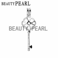 Locket Knot Key Cage Love Wish Pearl 925 Sterling Silver Key...