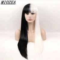 Hair Black White Long Straight Wigs Synthetic Hair High Temp...