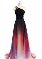 Side Abiti Gradient Ombre di promenade Split sera convenzionale Gown una spalla-partito del vestito cristallo della vita 2017 donne moderne Pageant abiti