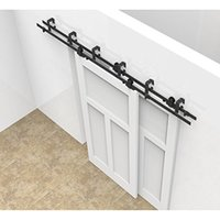516ft sliding bypass barn wood door hardware tformed kit new style system wall mount bracket fit double wooden doors