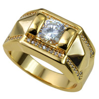 New Men 18k Gold Filled cristalli austriaci Taglia 8-15 Anello gioielli r245
