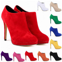 New Fashion Synthetic Flock Platform High Heels Ladies Women...