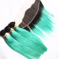 Ombre Full Frontal Bundle T1b Mint Green Two Tone Brasiliano Capelli Umani Tesse Con Pizzo Frontale Orecchio all'orecchio 13 * 4
