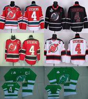 2016 Mens New Jersey Devils # 4 Scott Stevens Branco Vermelho Vermelho Preto Green Hóquei Jersey Boa Qualidade Personalizado Qualquer Nome Número