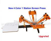 ترقية جديدة 4 لون 1 محطة آلة الطباعة الحريرية t-shirt طابعة الصحافة معدات كاروسيل شحن مجاني