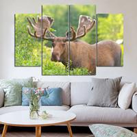 Astas como flores de alce Pinturas sin marco 4pcs (sin marco) Impresión en lienzo Arte de la pared HD Print Painting Picture