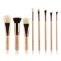 MAANGE Professional 8Pcs Tipi di pennelli per trucco Rose Gold Pipe Brush Set Portable Kabuki Make up Tools