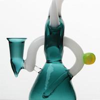 2017 Nuovo bellissimo design bong di vetro blu scuro tubo di acqua 7 pollici altezza bongs helix perc bong oil rig con 14mm comune