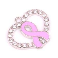 Albaricoque Fu 10 unids / lote Corazón de Moda Rosa Cristal Esperanza Cristal Vivo Memoria Locket Diy Encantos de la Joyería