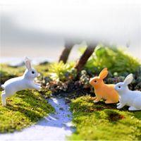 Minyatür Tavşanlar Peri Bahçe Teraryum Heykelcik Dekor DIY Bonsai Reçine Zanaat Odası Ev Mikro Peyzaj Süs Dekorasyon Mini Yapay
